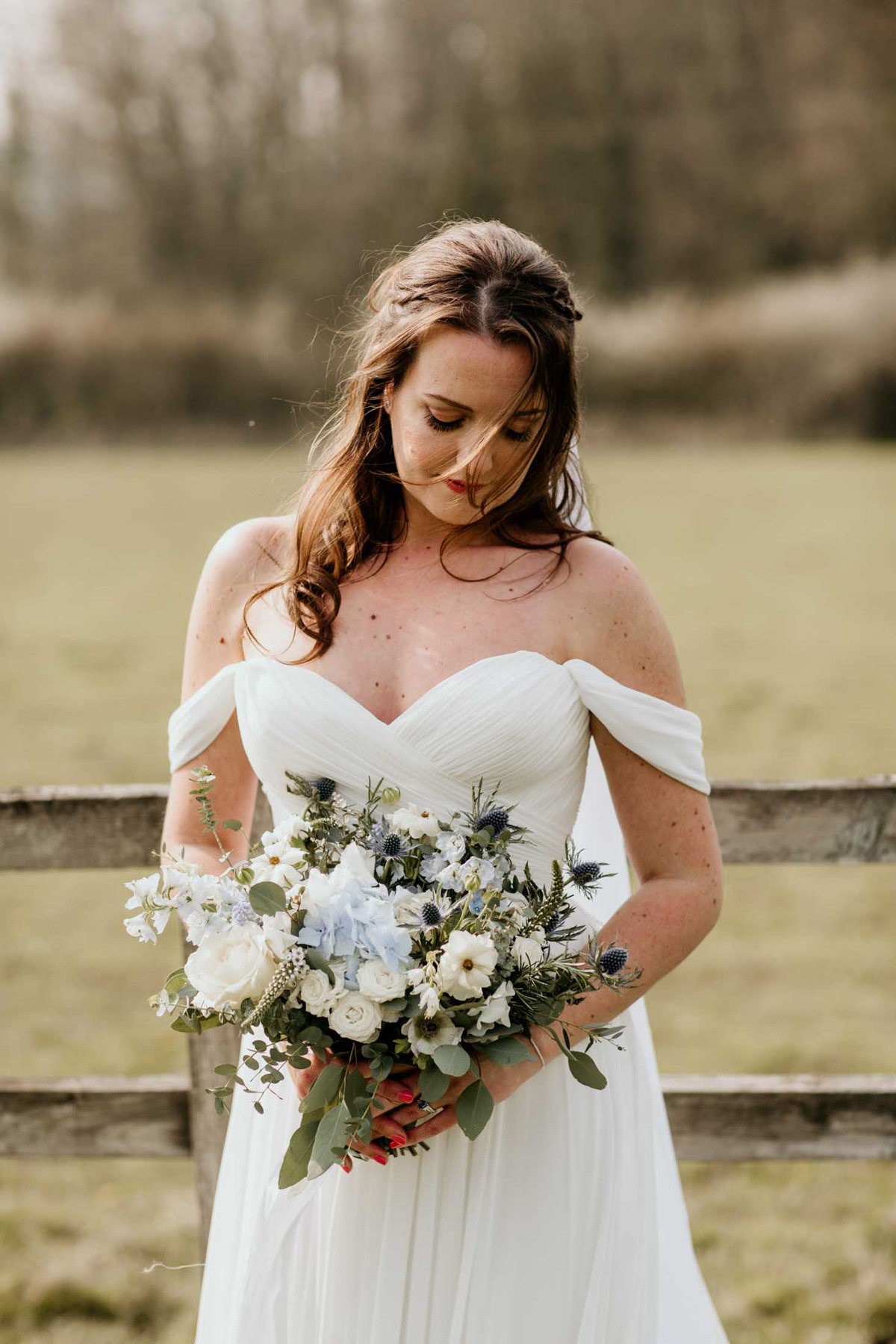 bridal portrait with flowers at hyde house wedding venue