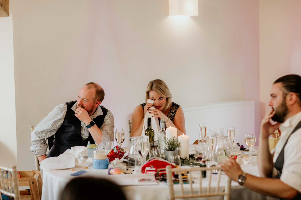 guests crying during speeches at hyde house wedding venue