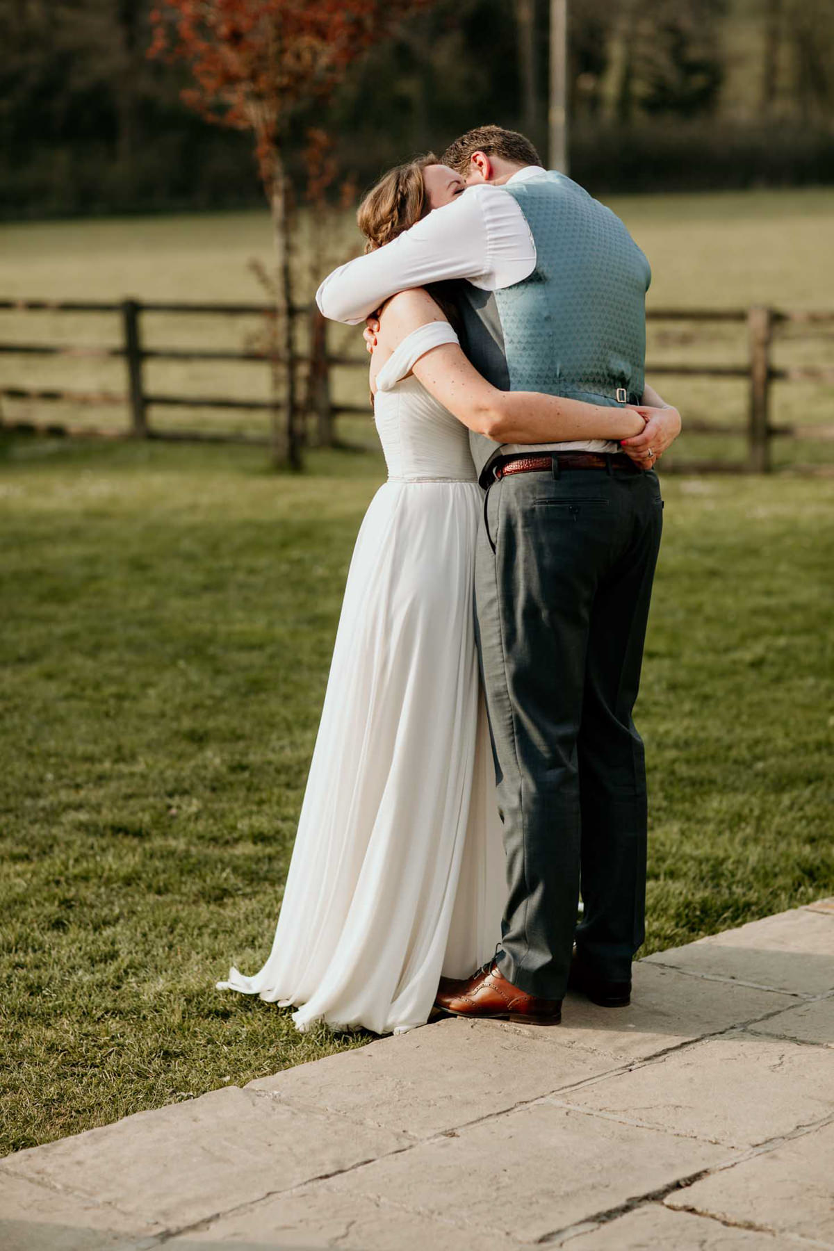 bride and groom having a special moment at hyde house wedding venue