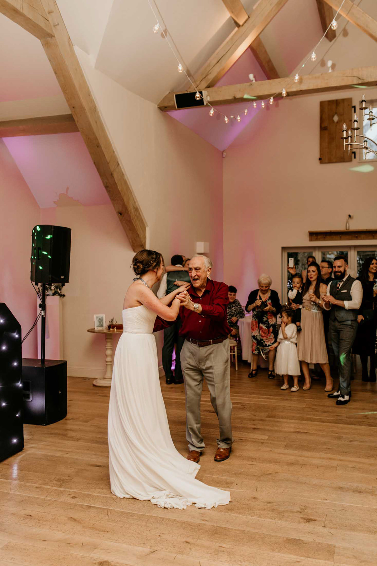 bride and grandad first dance at hyde house wedding venue