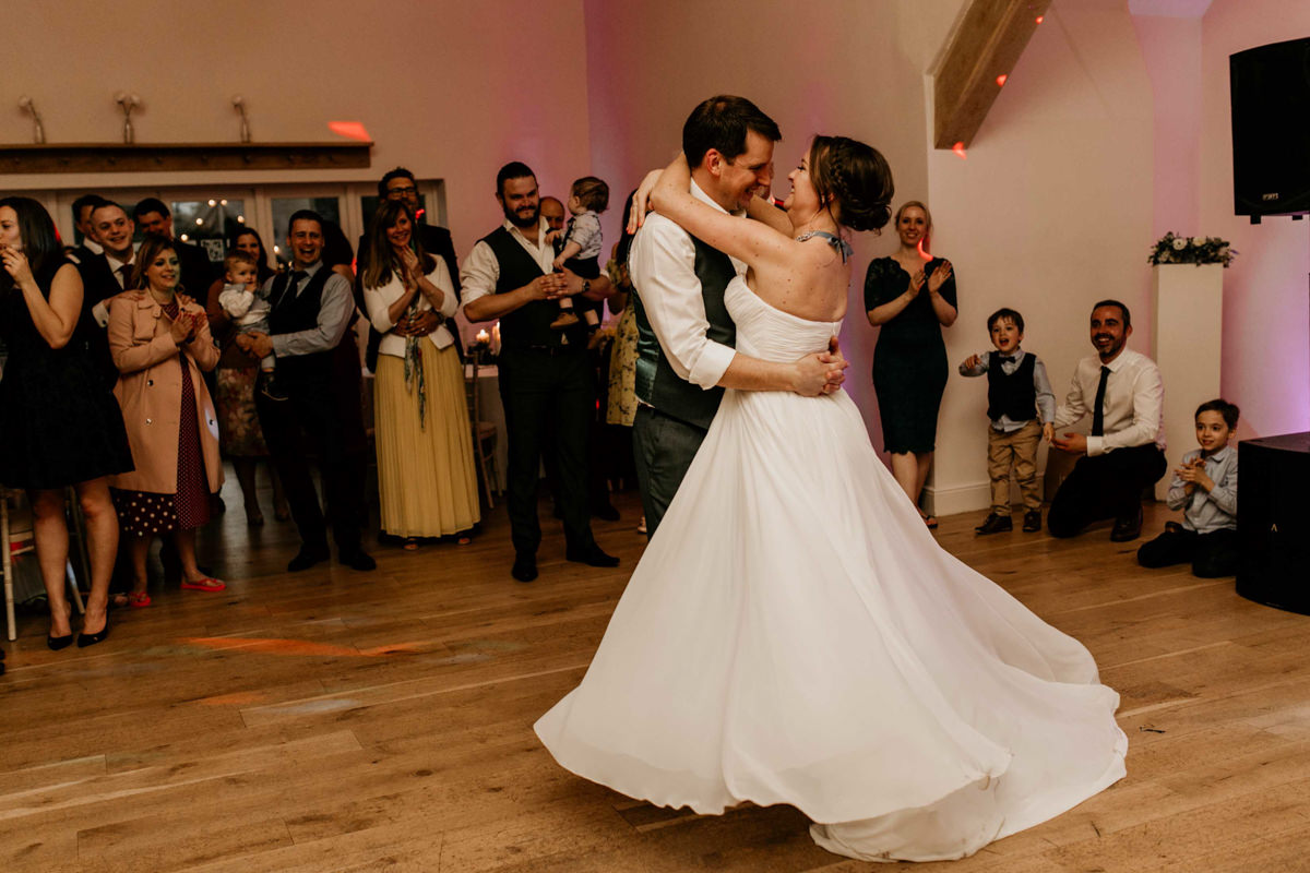 bride and groom first dance at hyde house wedding venue
