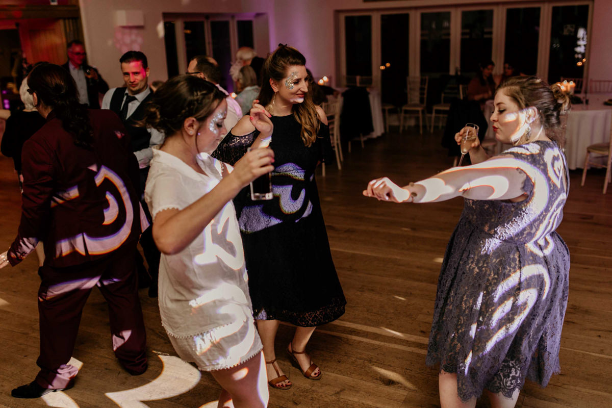 guests dancing during the wedding reception at hyde house wedding venue