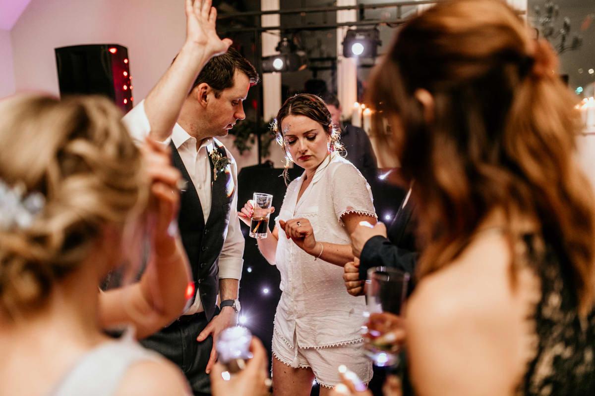 bride dancing at hyde house wedding venue