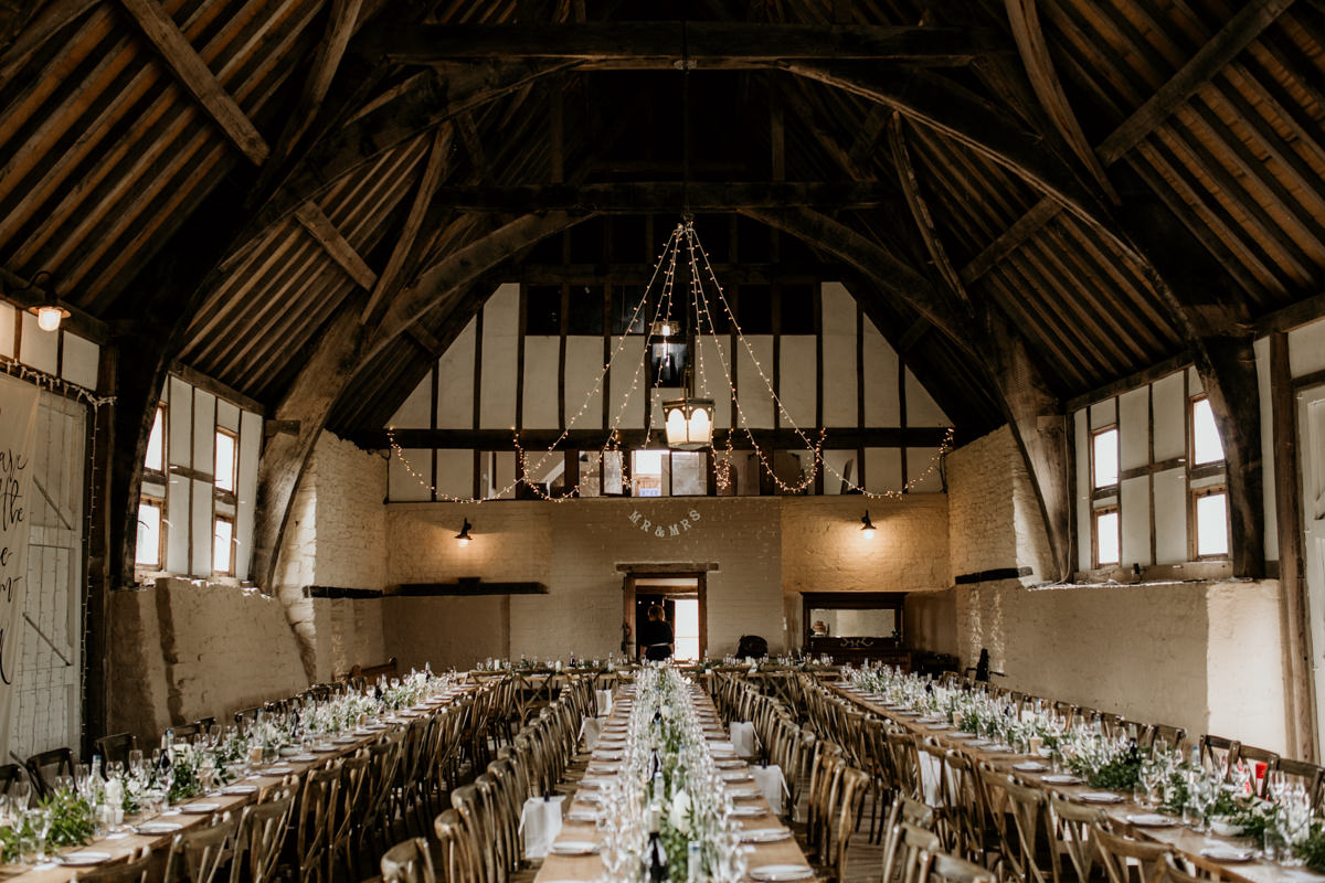 barn wedding decor at Priors Court Barn Gloucestershire