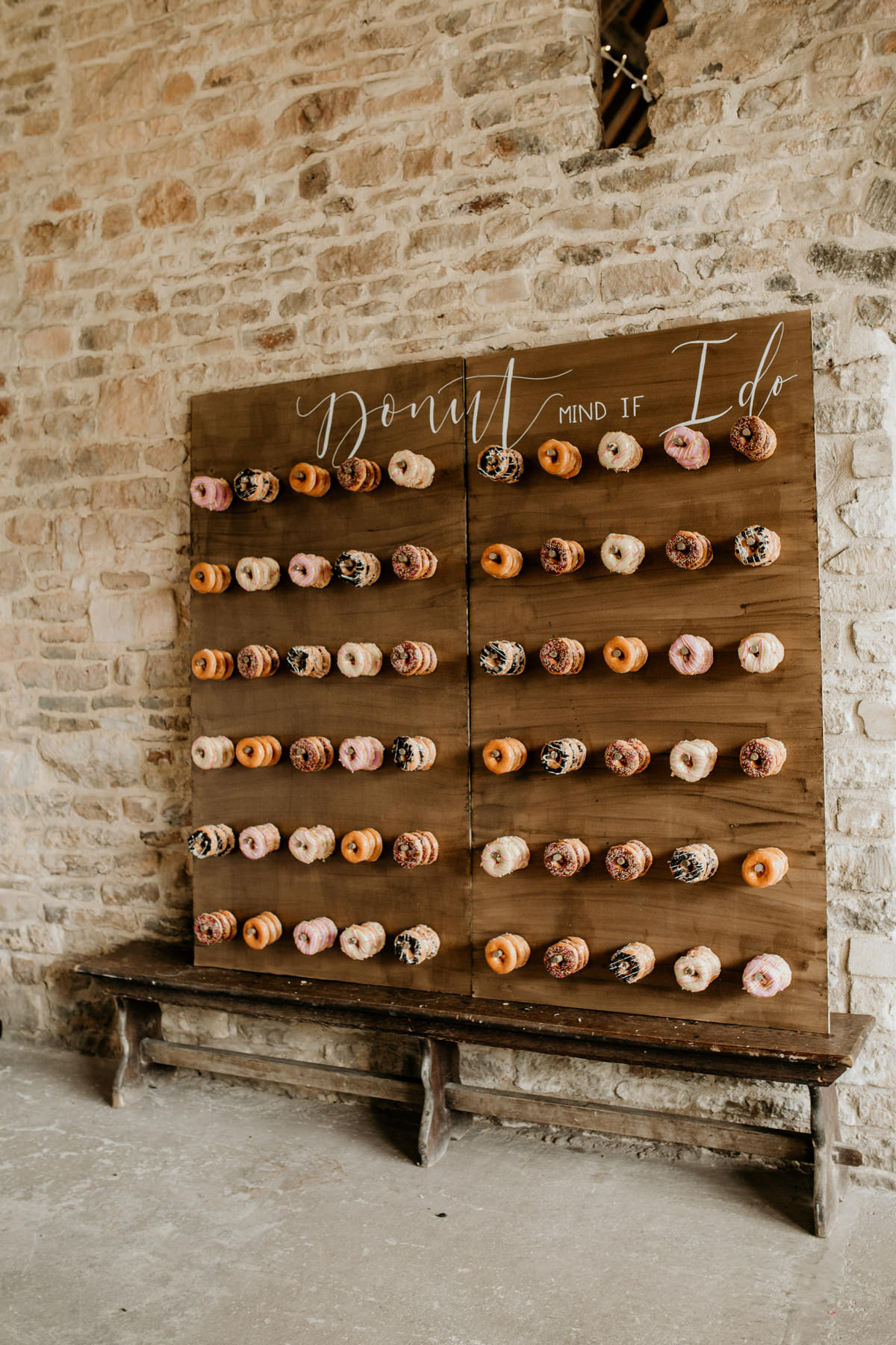 donuts wall for a wedding decor at Priors Court Barn Gloucestershire wedding photographer