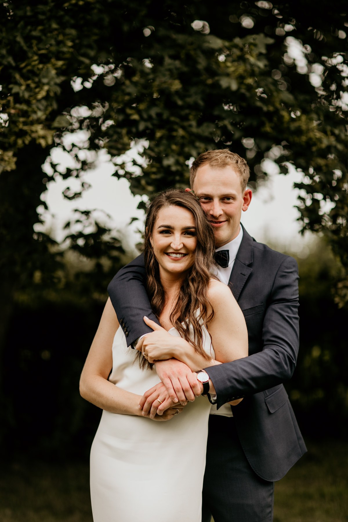 bride and groom portraits at Priors Court Barn