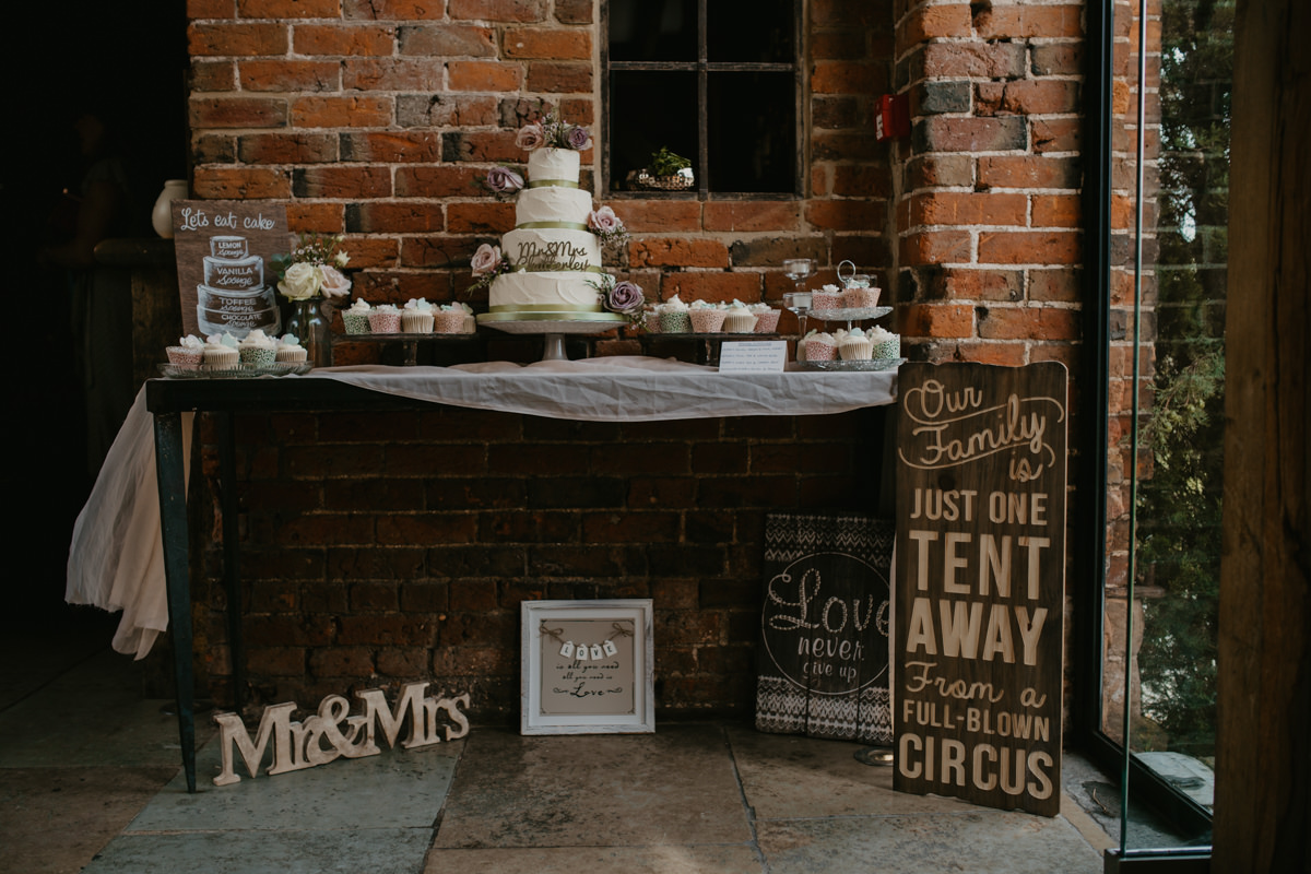 dessert table at Shustoke Barn wedding venue