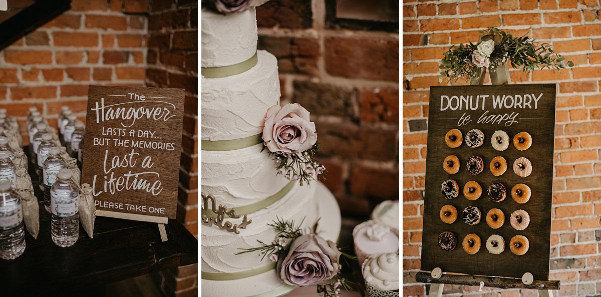 cake and donuts at Shustoke Barn wedding venue