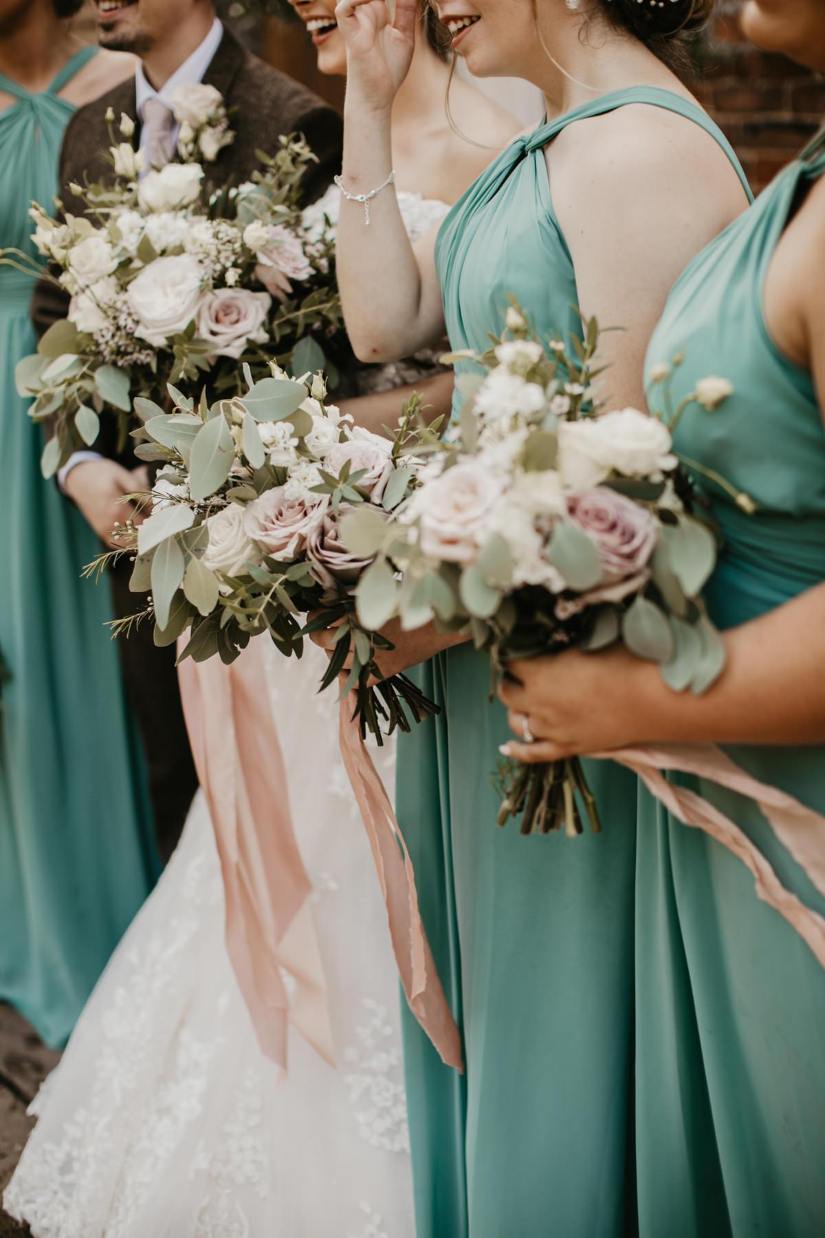 blush and green wedding flowers for a Shustoke Barn wedding