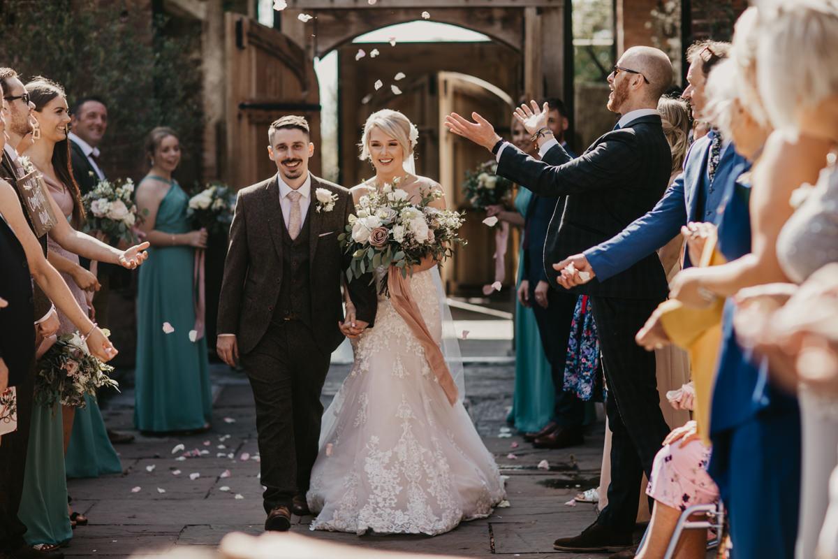 confetti shot for a Shustoke Barn wedding in Warwickshire