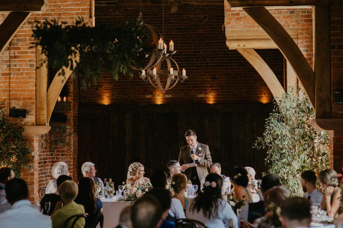 speeches during a Shustoke Barn wedding in Warwickshire