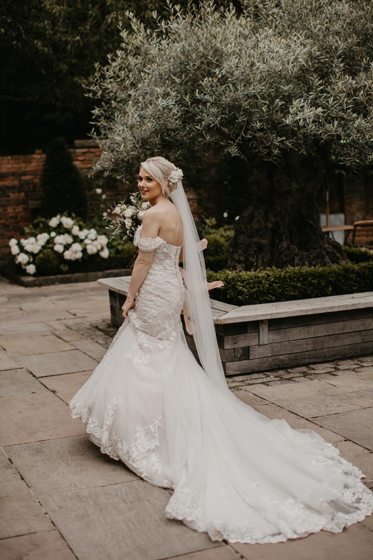 bride during the Shustoke Barn wedding in Warwickshire