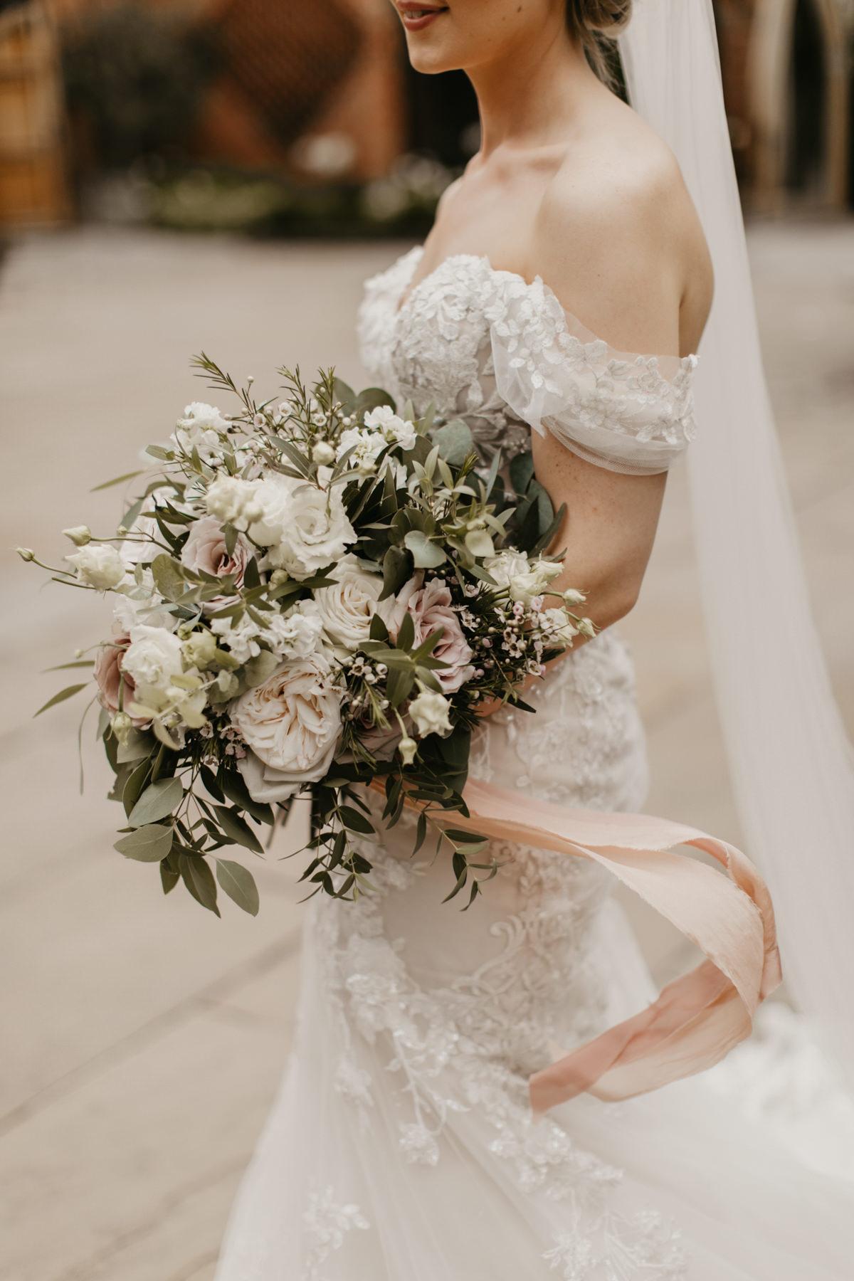 boho flowers during a Shustoke Barn wedding in Warwickshire