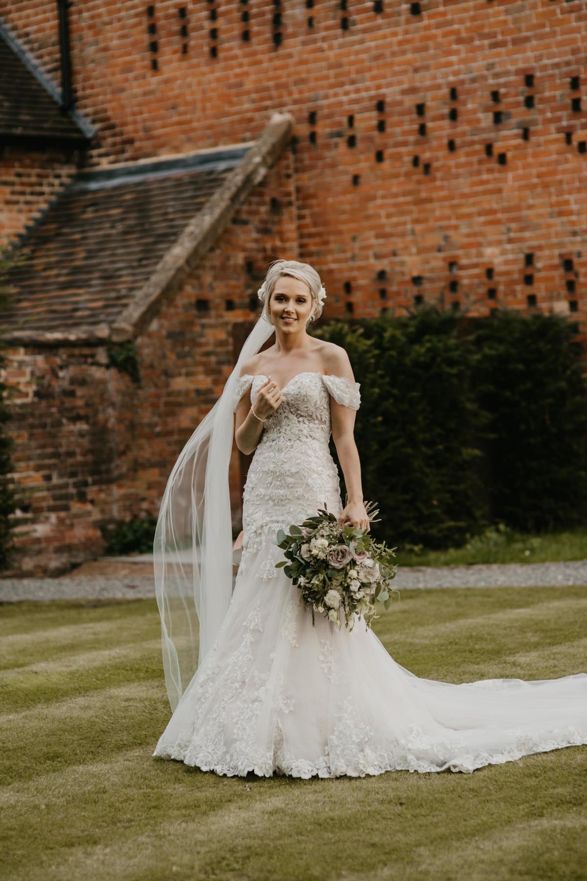 Shustoke Barn wedding portraits of bride