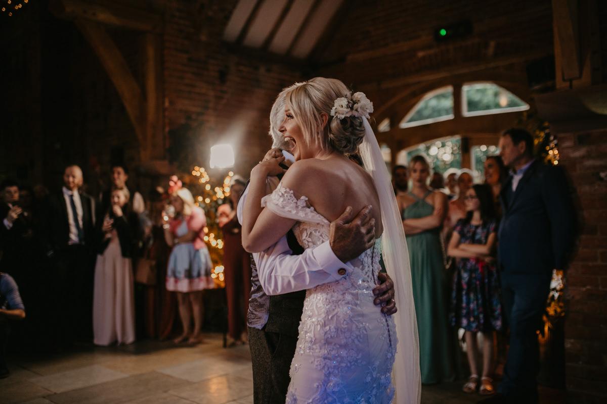 bride dancing during the Shustoke Barn wedding reception