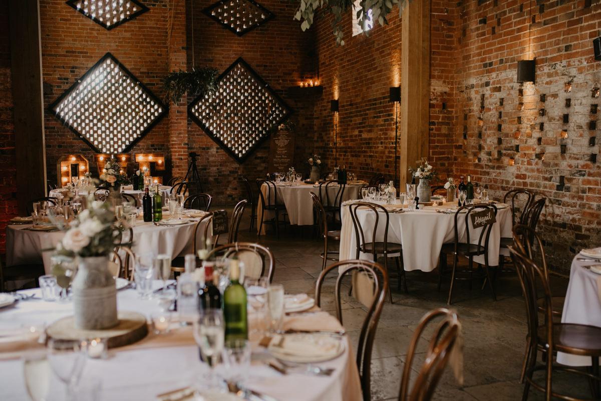 reception area at Shustoke Barn wedding venue