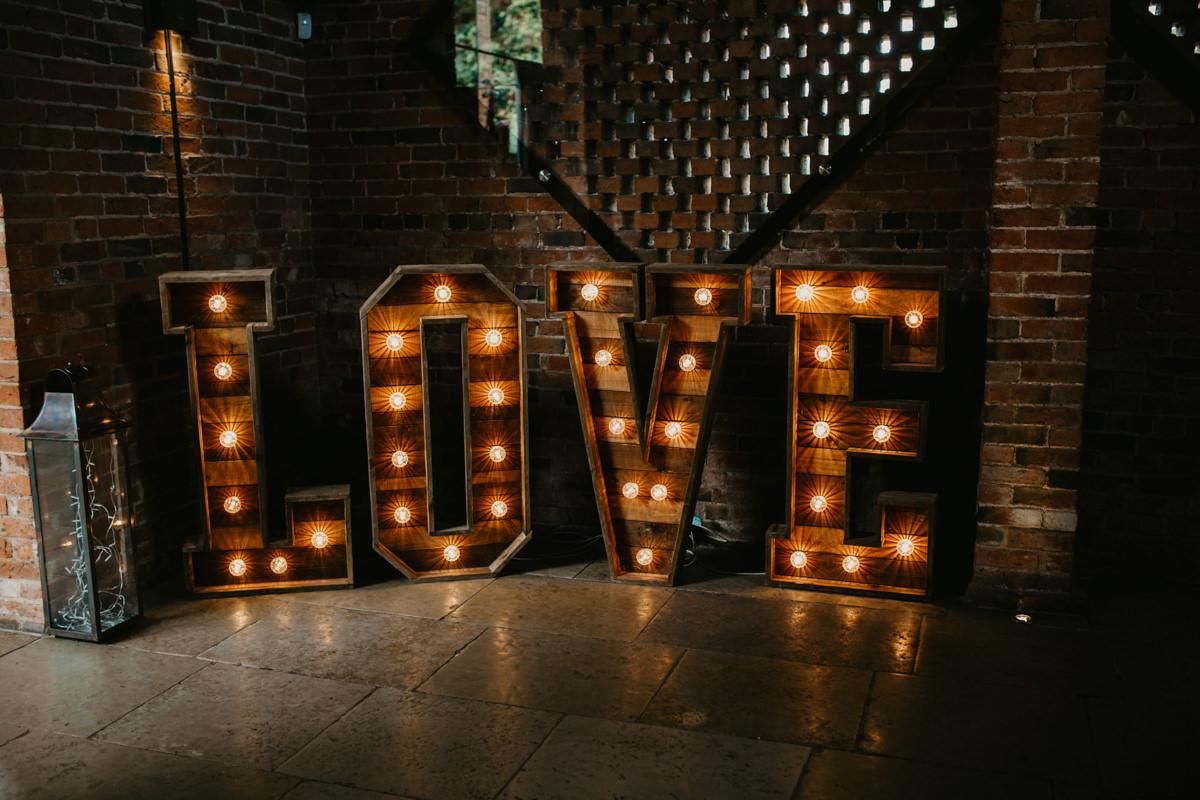 big Love sign for a barn wedding at Shustoke Barn