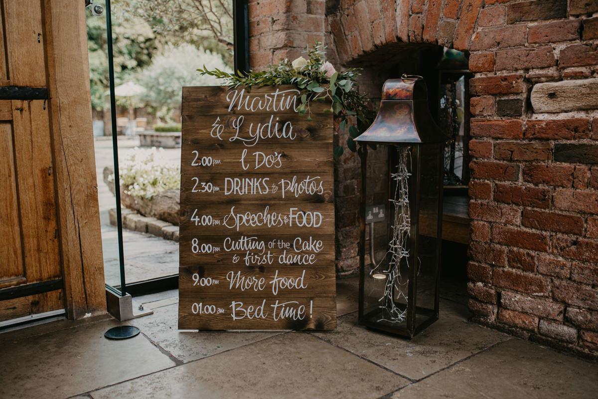 wedding details decoration at Shustoke Barn