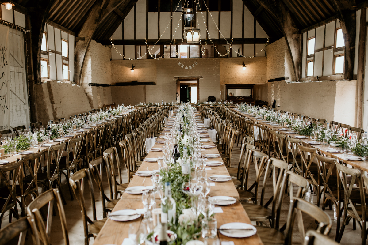 table decorations at priors court barn wedding venue