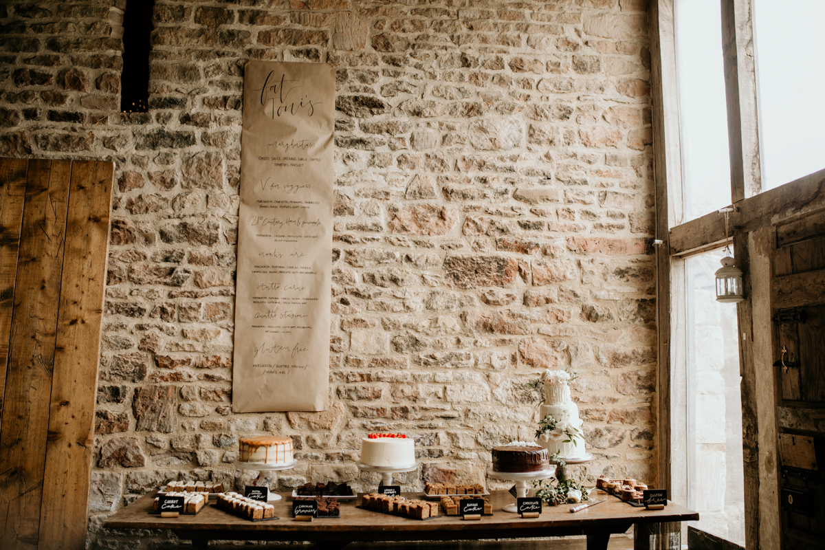 dessert table at priors court barn wedding venue in gloucestershire