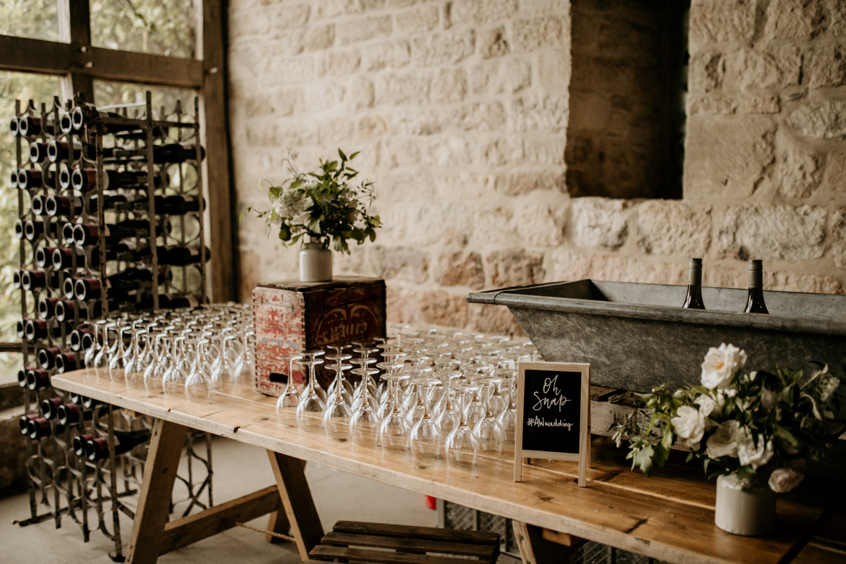 bar area at priors court barn wedding venue gloucestershire