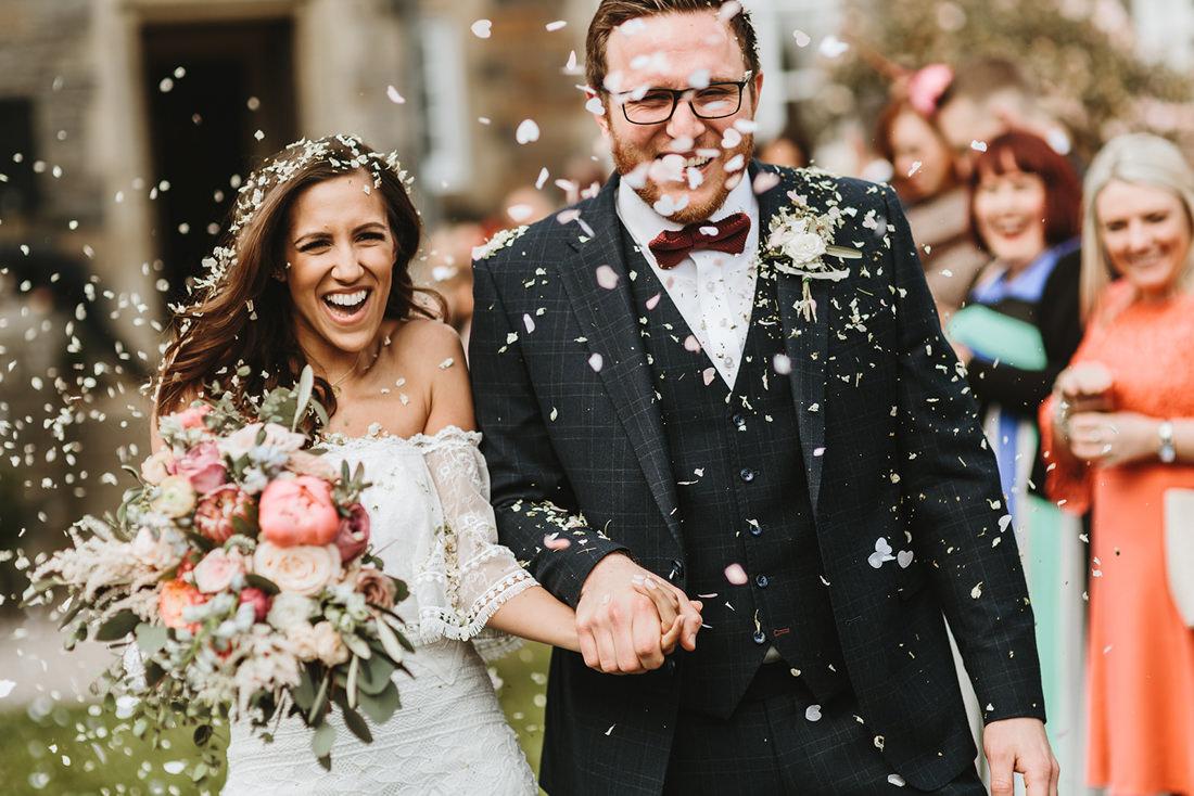 confetti shot during a wedding at plas dinam wales