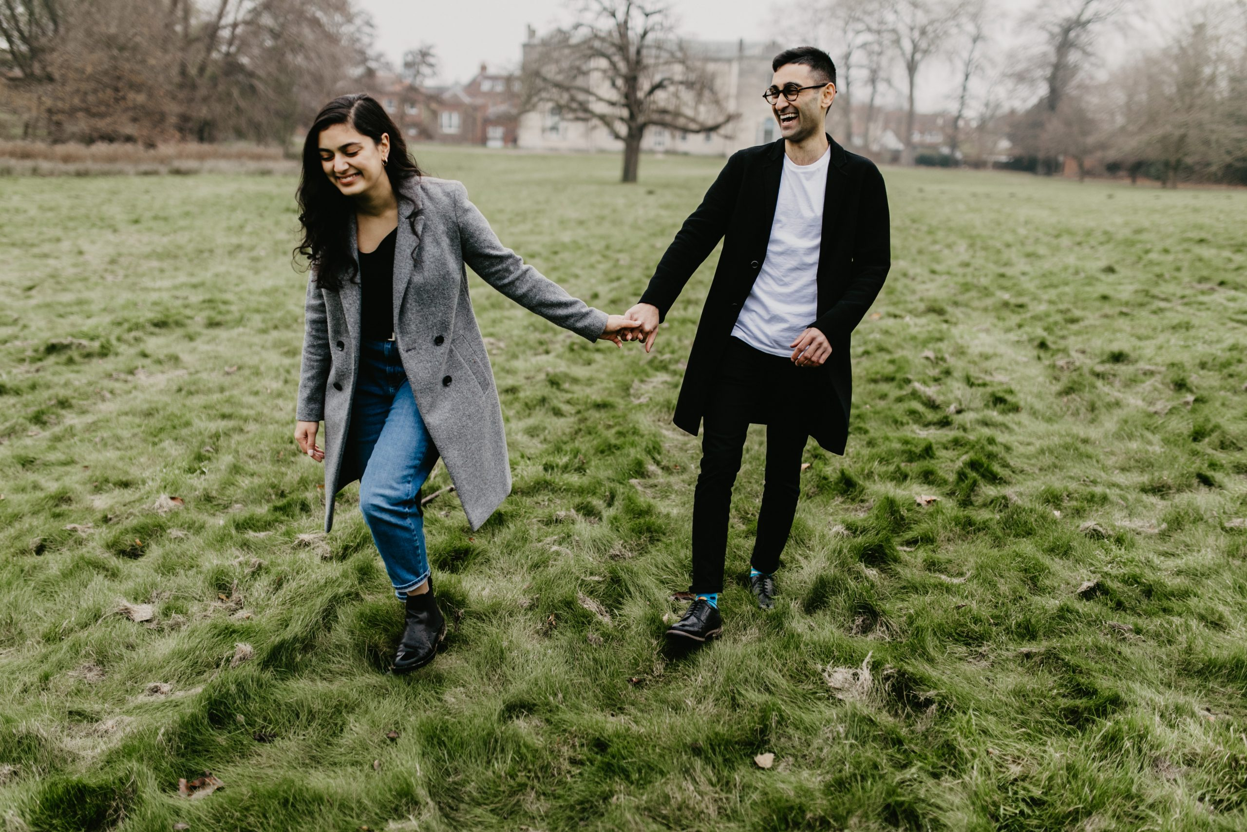 couple walking during their engagement session