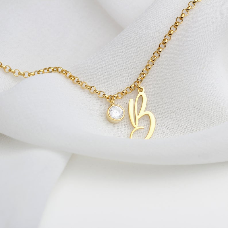 gold personalized initial bracelet bridesmaids